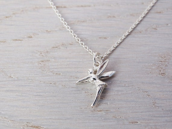 Tiny Silver Fairy Necklace - Tinkerbell - Childrens Jewellery - Sterling Silver