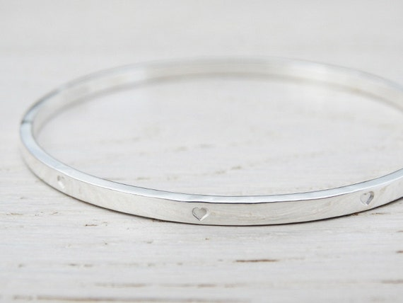 Silver Bangle With Tiny Hearts - Sterling Silver