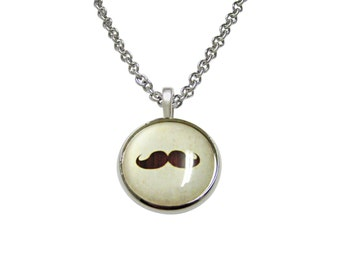 Brown Hipster Mustache Pendant Necklace