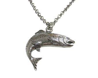 Silver Toned Textured Salmon Fish Pendant Necklace