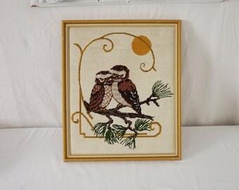 Pair of Cute Owl Lovebirds Vintage Framed Needlework