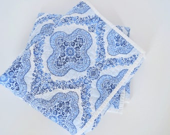 Blue Bohemian Whole Cloth Baby Quilt