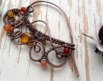 Wire Wrapped Copper Shawl Pin - Copper Wire Shawl Pin - Scarf Sweater Pin - lace filigree - Orange red pin