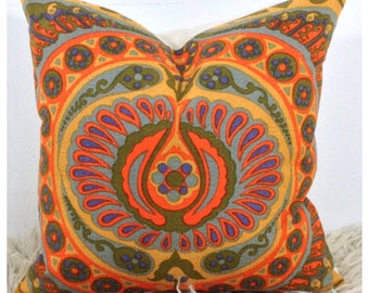 "Vintage 1960s  Jyoti Bhomik Pageant Fabric Cushion Cover 18"" x 18"" Orange Throw Pillow"