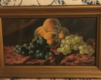 Rare Antique Framed Fruit Chromolithograph by C.P. Ream in Original Antique Frame