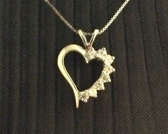 """Fashion Women 925 Sterling Silver Crystal Heart 18"""" Necklace Box Chain Valentines"""