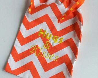 "Orange Yellow ""Hugs & Kisses"" Gift Bag, cotton drawstring bag for gift giving - American Made"