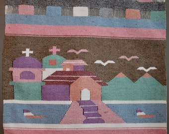 Aztec Art Vintage Wool Tapestry Peruvian Wall Hanging Woven Wall Decor South West Home Decor Retro Home Decor Mad Men Living Room Eames Home