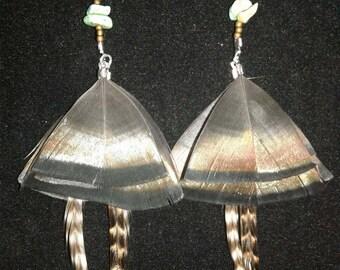 Turquoise, Beaded Feather earrings