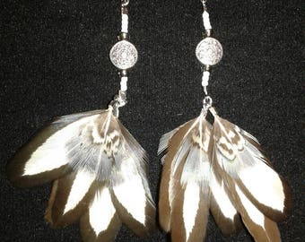 White Laced hen,  beaded Feather Earrings.