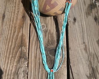 Santo Domingo Pueblo Natural Royston Turquoise Heishi Neclace From The 1990's