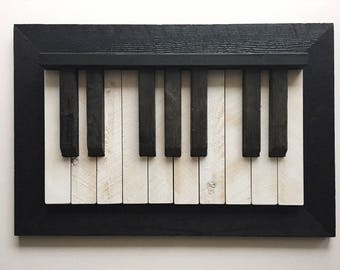 Wooden Piano Wall Decor Distressed, Wall Hanging, Piano Keys
