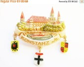 SPRING SALE - German Vintage Souvenir Hat Pin Brooch Jewelry from Konstanz (Constance) with the Rheintorturm and Emblems