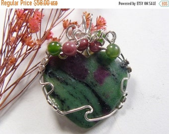 Ruby in Zoisite designer cabochon wire wrapped using Argentium silver wire, heart shape, natural ruby  (w9162)