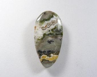 Ocean Jasper Cabochon, 20x39x5 mm, designer cabochon, gemstone cabochons, flat back cabochons, natural stone cabochons (oj21071))
