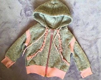 supersoft vintage baby hoodie weathered grey and pink