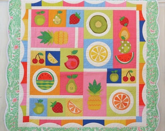 Fruit Salad Applique Quilt pattern. PDF instant download