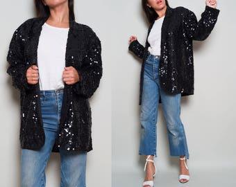 1990s// Full sequin Black Blazer// Oversize Glam Glitz// Med Lrg