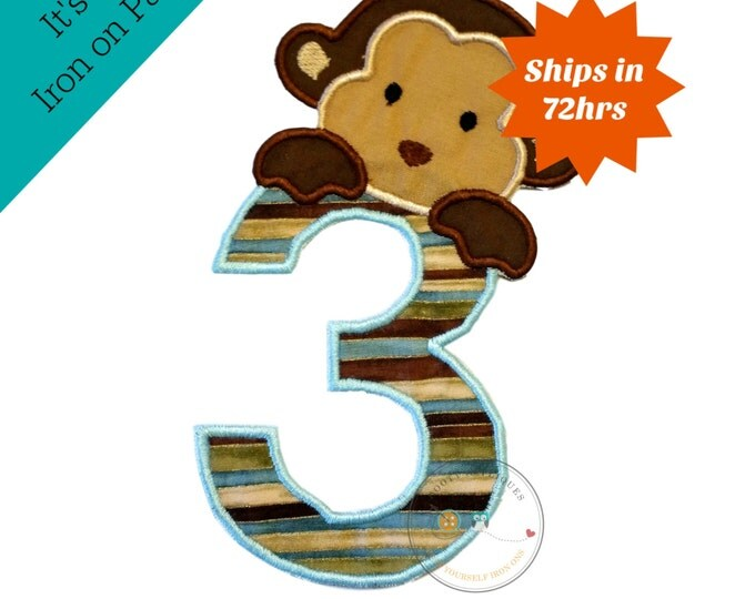 Peek-a-boo monkey birthday number 3 iron on applique-light blue, brown and tan no sew machine embroidery patch-DIY boutique fashions