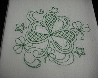 Shamrock St. Patrick's Day  flour sack towel. Machine embroidered.