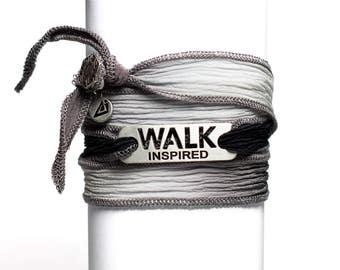 WALK INSPIRED - Walking Silk Wrap Bracelet, Walk Jewelry, Gift for Walkers, Walking Motivation, Walker Partner Gifts, Walk Bracelet
