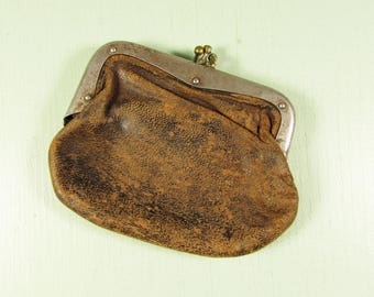 Brown Leather Coin Purse - Vintage Small Kiss Lock Closure Two Compartment