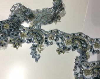 Blue Beaded Lace Trim for Dance, Costume or Couture Garments