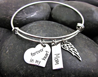 Forever In My Heart - Memorial - Loss of Loved One - Remembrance - Personalized Bracelet
