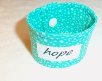 Words of Inspiration Cuff Bracelet of Hope in Sea Foam Green with Dots