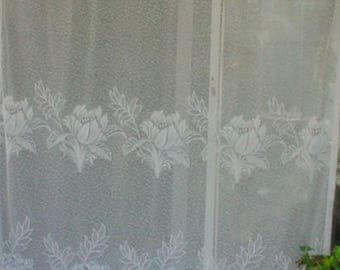 Vintage Lace Curtain Panel Scalloped Bottom Florals Romantic French Prairie Farmhouse Chic