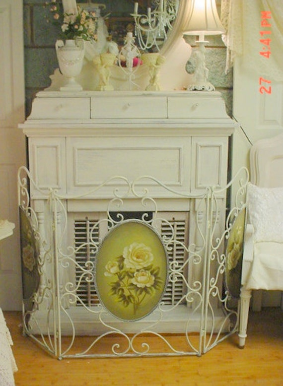 Fireplace Screen Roses Wrought Iron Scrolly French Country