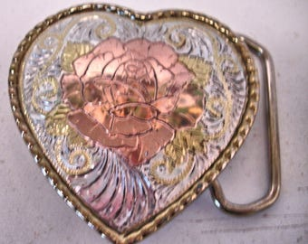 Vintage Heart Shape Women Western Belt Buckle With Copper Rose Design