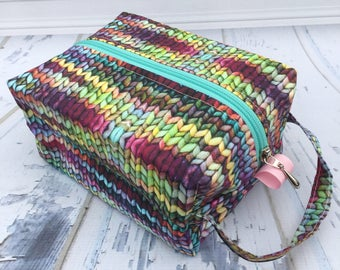 Knitting Print Knitting Project Bag, Large boxy bag, Knitting Box Project Bag.Crochet project bag, sock knitting bag