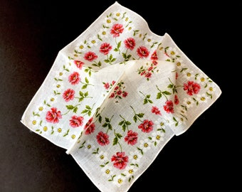 Lovely 1950's Vintage Handkerchief with Pink Roses