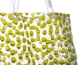 Vintage 90s Clear PVC Tote Bag w/ Allover Yellow Happy Face Print