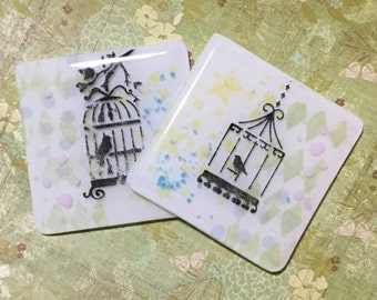 Fused Glass Birdcage Pair of Coasters