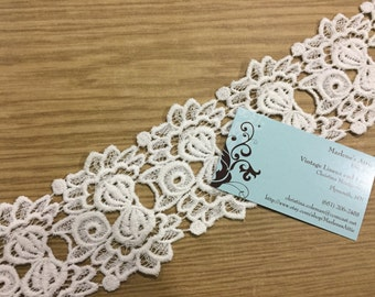 2 yards of  3 1/4 inch White Venise Lace Trim for wedding, bridal, scrapbooking, jewelry, housewares, couture by MarlenesAttic - Item 5T