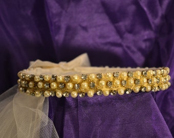 Tiara Crown with Pearls, Rhinestones, Satin Bow and a Veil