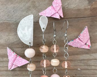 set of four different earrings with pink handblown glass beads