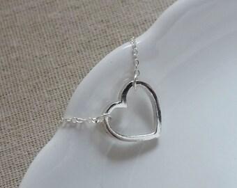 Sterling Silver Heart Necklace. Heart Pendant. Sterling Silver Necklace. Outline Heart Charm. Christmas Gift. Girlfriend Gift