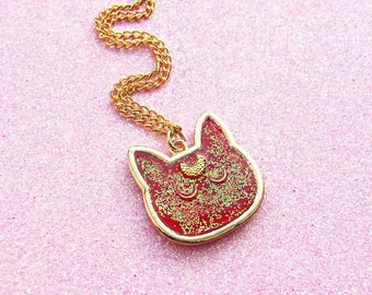 Kawaii Fairy Kei Cute Cat Face Moon Resin Gold Charm Necklace