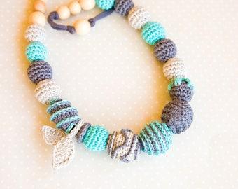 OOAK nursing necklace - Grey blue - Breastfeeding necklace -  Sling Accessory - nursing necklace -  babywearing