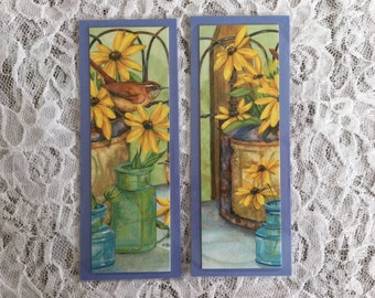 Flower Bookmarks, Yellow and Blue Page Markers, Mother's Day, Teachers Appreciation Gift, Laminated Bookmarks - Set of 2