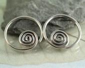 Spiral Sleeper Earrings - Silver Hoops - 14 mm Hoops | Spiral Earrings | Hoop Earrings Small