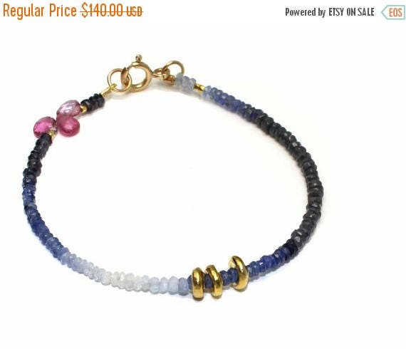 20% off. Ombre Sapphire Beaded Bracelet. Simple Stacking Bracelet with Pink Tourmaline Briolettes. Gold Fill or Sterling Silver. B-1931