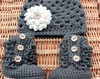 Baby Girl Hat and Booties, Baby Girl Clothes, Hat and Bootie Set