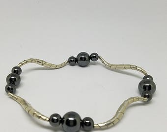 Waves of Hematite and Sterling Silver