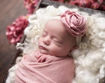 Vintage Headband, Lace headband- Mauve Pink Rosette on Ivory Elastic Lace Headband Baby Headband Newborn Headband