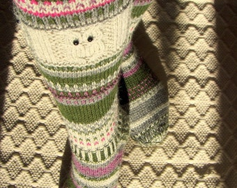 Winter tale IV -Long kneehigh Wool socks 'Talvisatu IV' Womens Girls Boys hand knit multicolor Winter Big Warm Cosy Gift Handmade in FINLAND