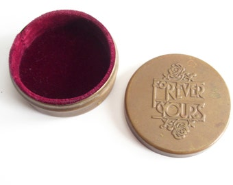 Forever Yours Box, Lowell Sigmund Brass Jewelry Box, Vintage Trinket Box, Velvet Lined Box, Brass Trinket Box, Vintage Jewelry Box